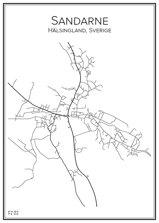 Stadskarta över Sandarne