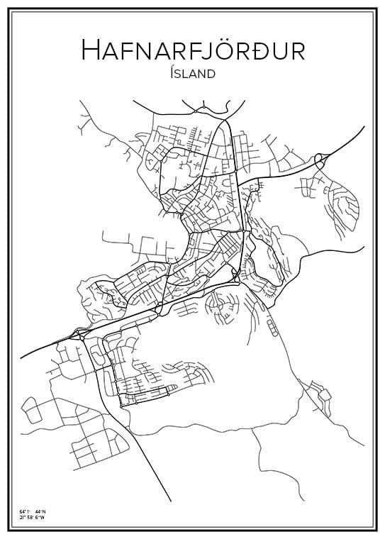 Stadskarta över Hafnarfjörður