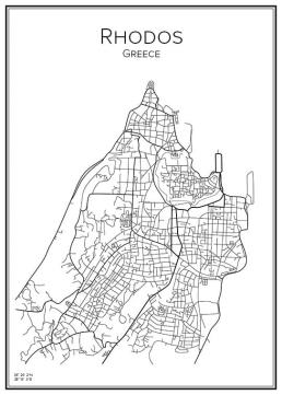 Stadskarta över Rhodos