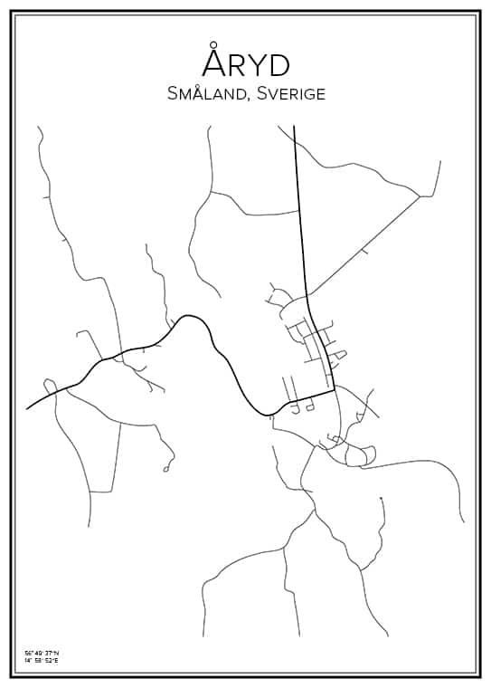 Stadskarta över Åryd i Småland