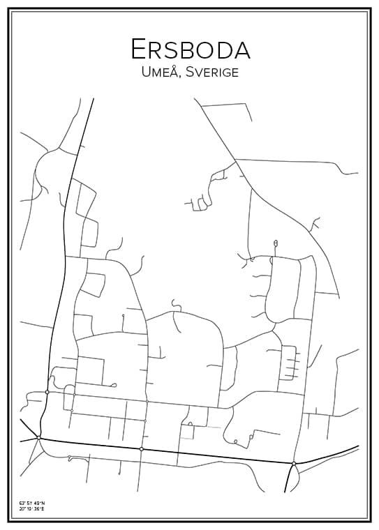 Stadskarta över Ersboda