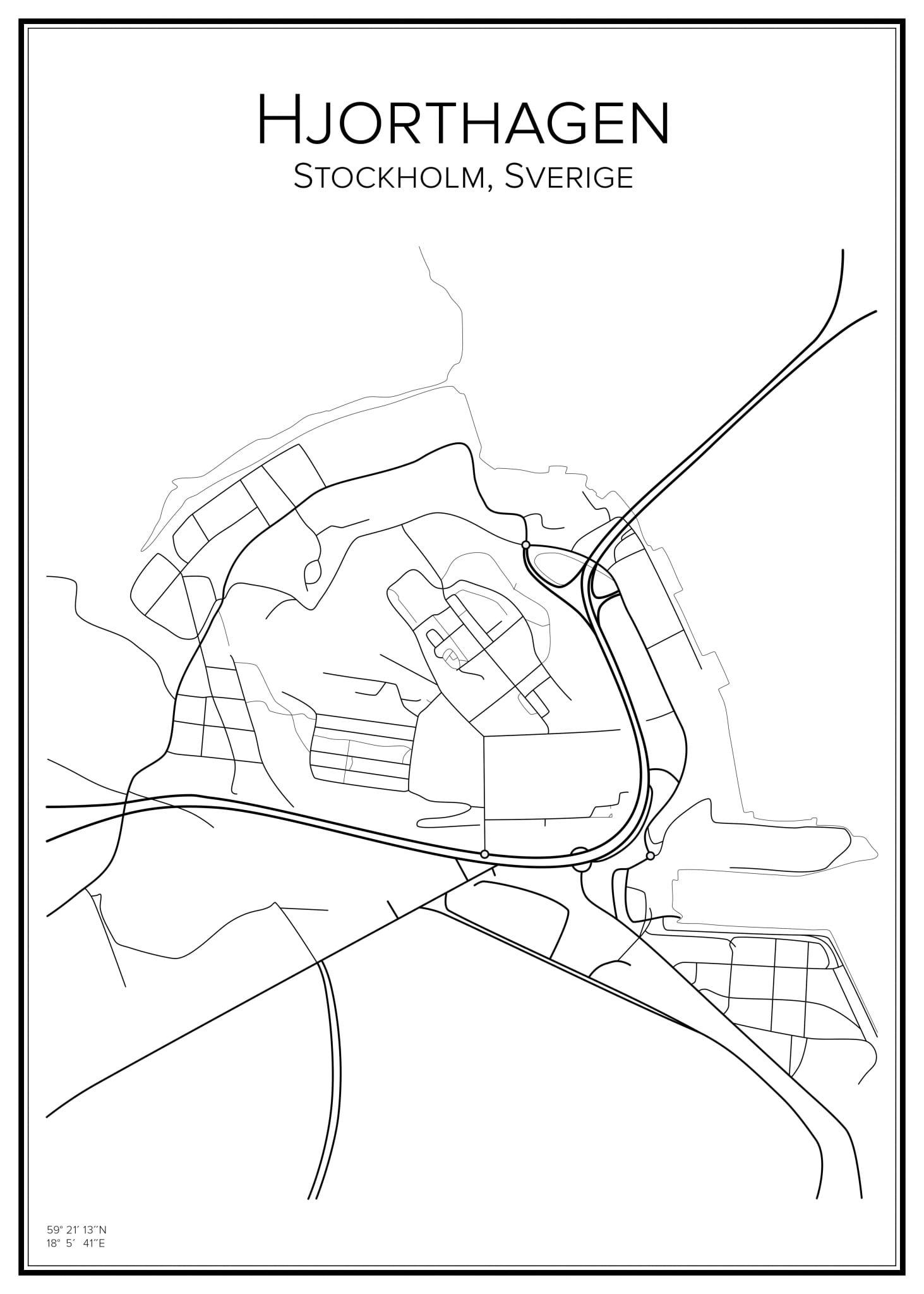 Stadskarta över Hjorthagen