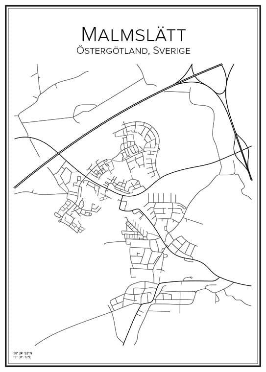 Stadskarta över Malmslätt