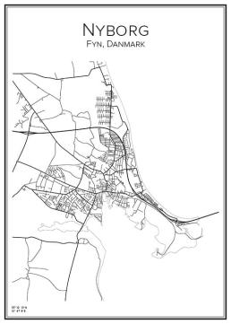 Stadskarta över Nyborg