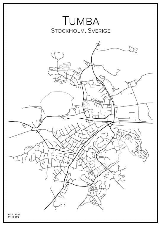Stadskarta över Tumba