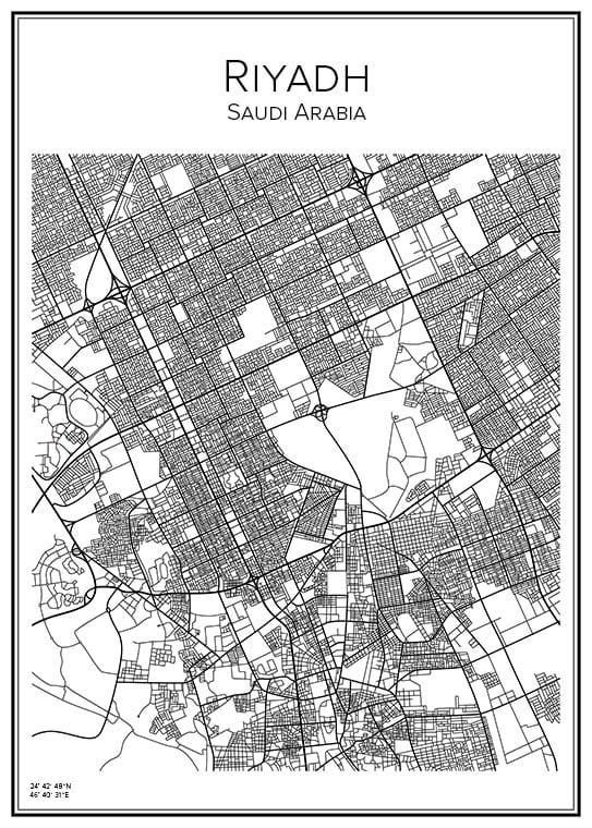 Stadskarta över Riyadh