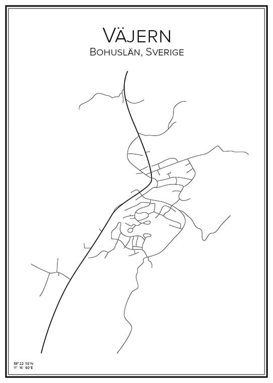Stadskarta över Väjern