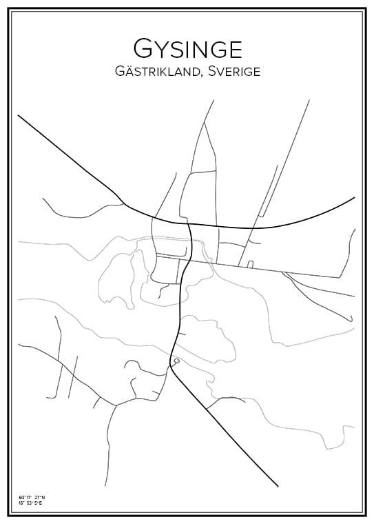 Stadskarta över Gysinge