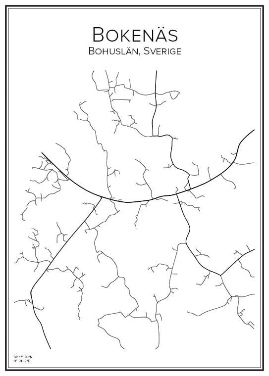 Stadskarta över Bokenäs