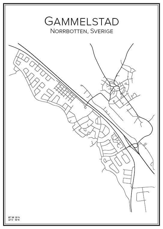 Stadskarta över Gammelstad