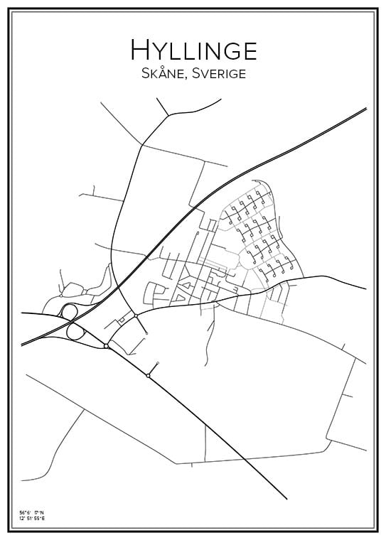 Stadskarta över Hyllinge
