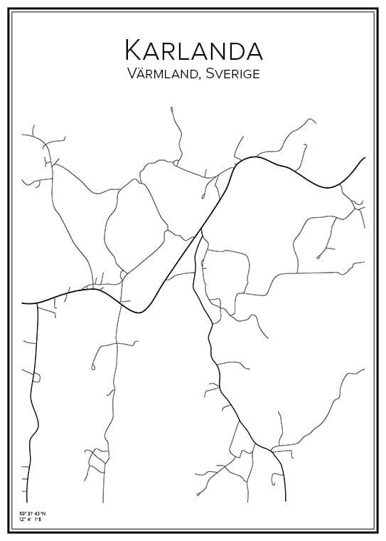 Stadskarta över Karlanda