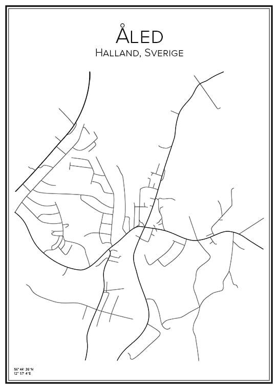Stadskarta över Åled