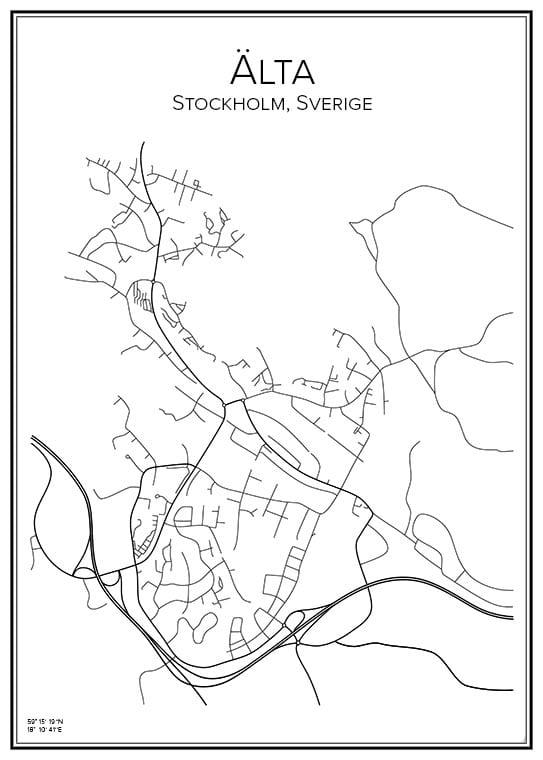 Stadskarta över Älta