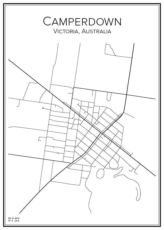 Stadskarta över Camperdown