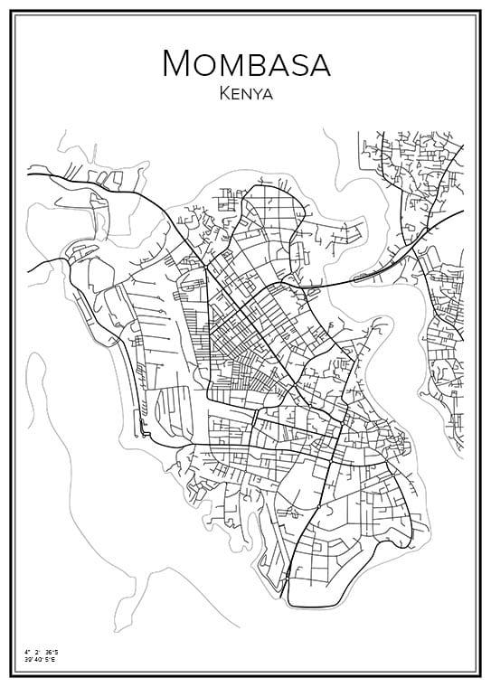 Stadskarta över Mombasa