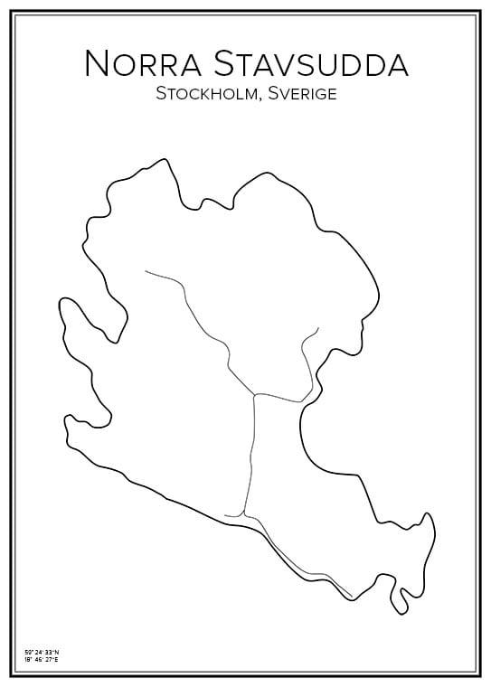 Stadskarta över Norra Stavsudda