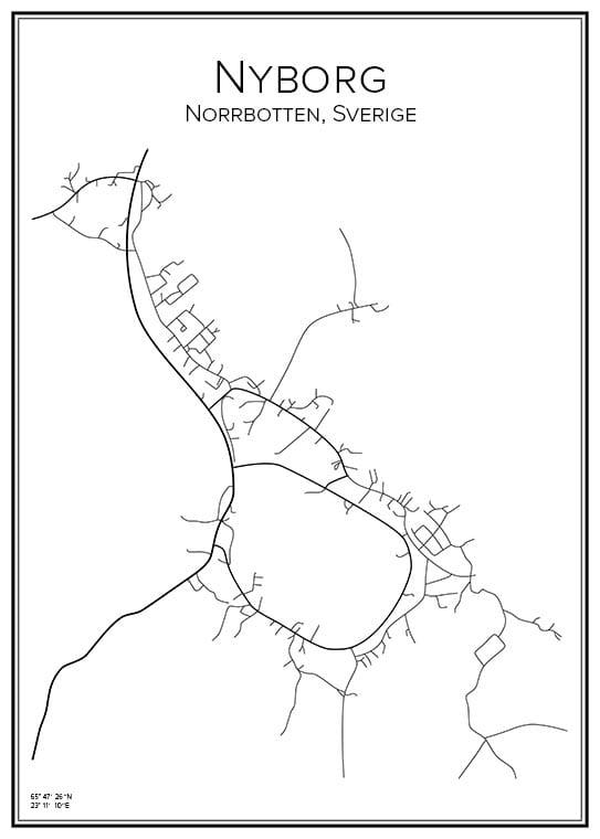 Stadskarta över Nyborg i Kalix
