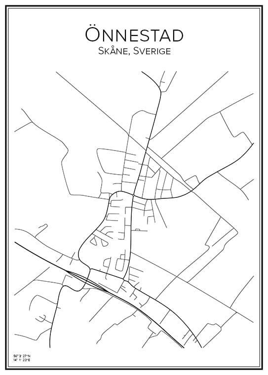 Stadskarta över Önnestad