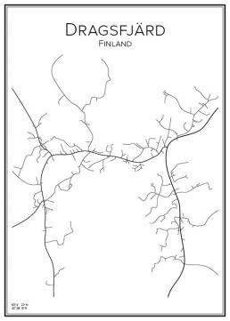 Stadskarta över Dragsfjärd