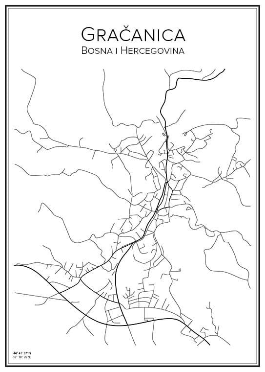 Stadskarta över Gračanica