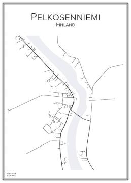 Stadskarta över Pelkosenniemi