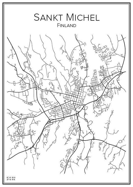 Stadskarta över Sankt Michel