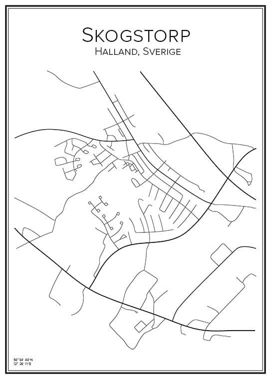 Stadskarta över Skogstorp, Halland