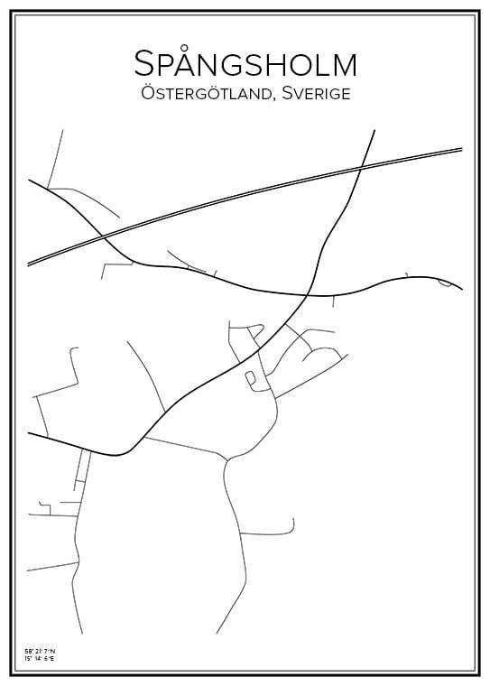 Stadskarta över Spångsholm