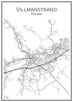 Stadskarta över Villmanstrand