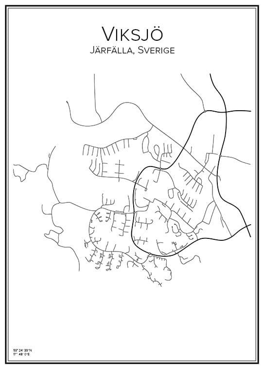 Stadskarta över Viksjö