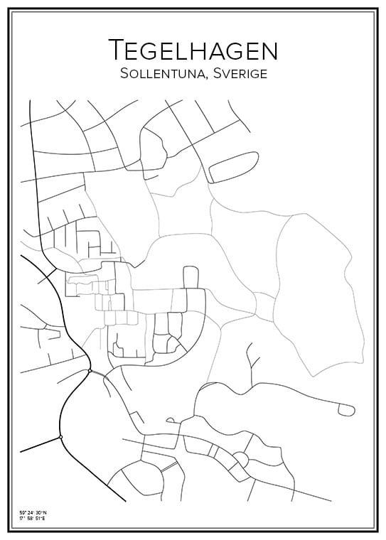 Stadskarta över Tegelhagen