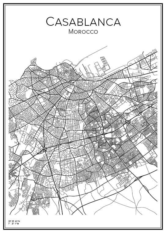 Stadskarta över Casablanca
