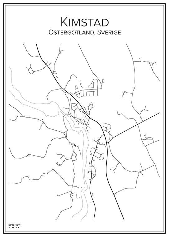 Stadskarta över Kimstad