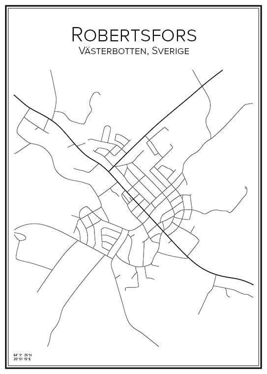 Stadskarta över Robertsfors