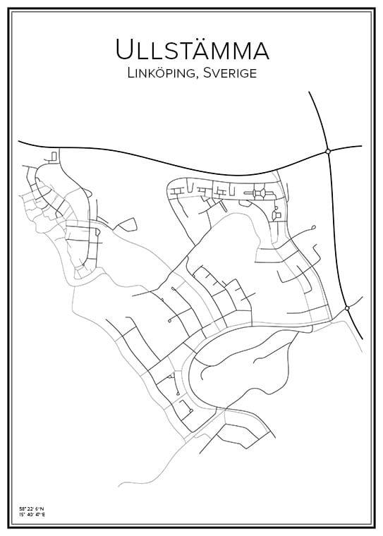 Stadskarta över ullstämma i Linköping