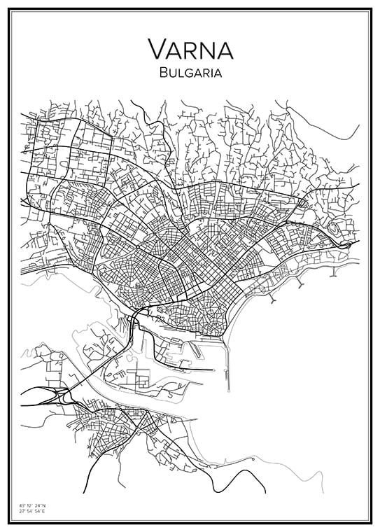Stadskarta över Varna