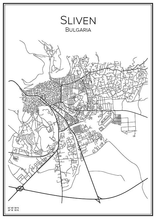 Stadskarta över Sliven