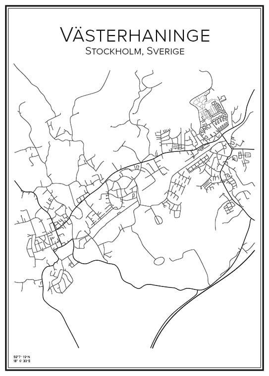 Stadskarta över Västerhaninge
