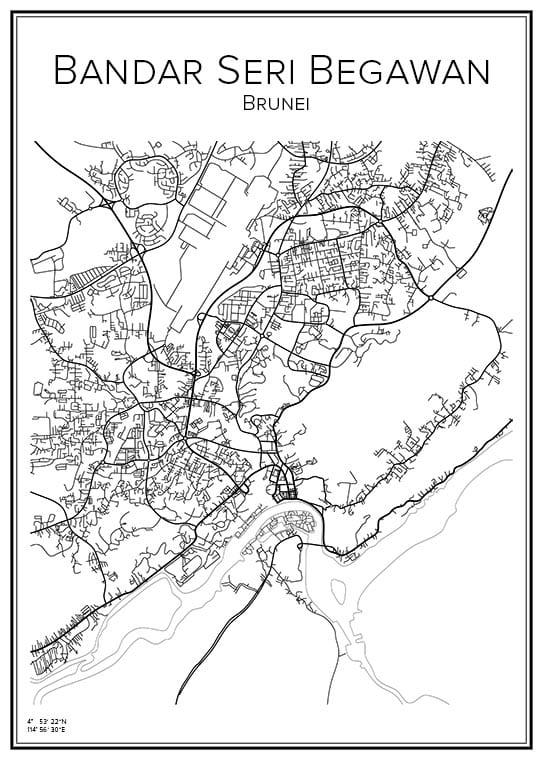 Stadskarta över Bandar Seri Begawan