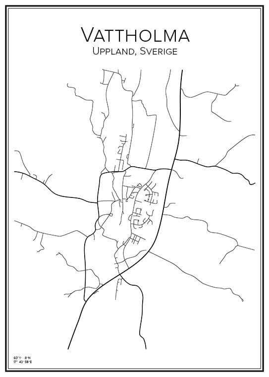 Stadskarta över Vattholma