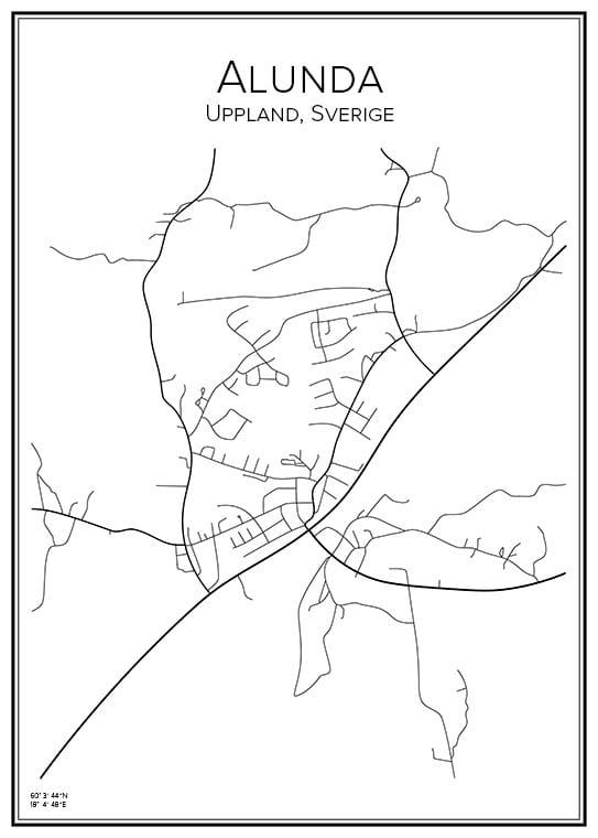 Stadskarta över Alunda