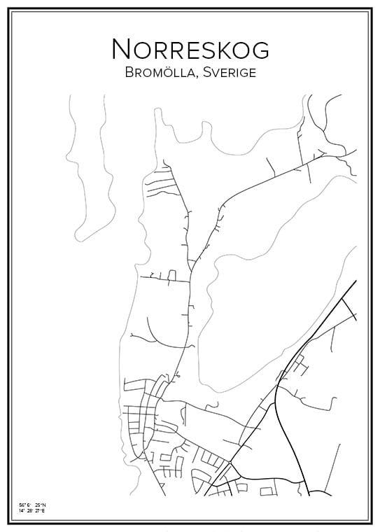 Stadskarta över norreskog