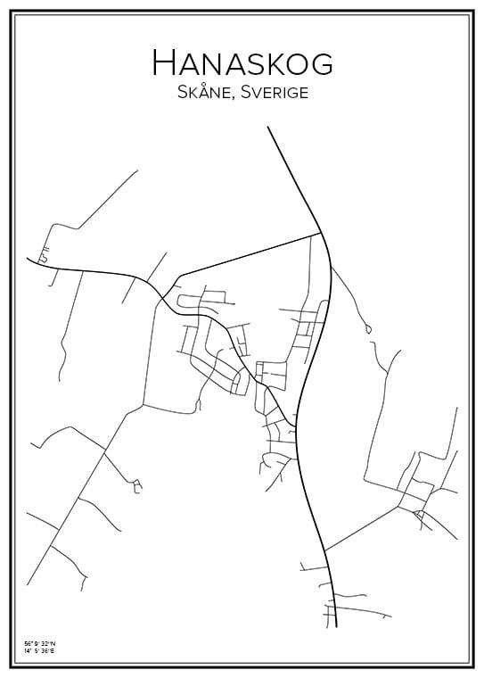 Stadsakarta över Hanaskog