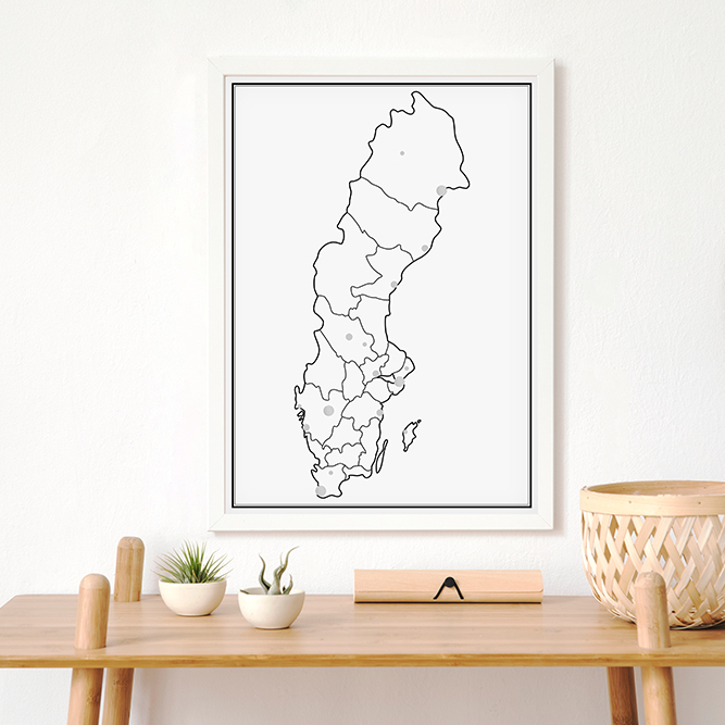 Markeringskarta - Sverige - Silver