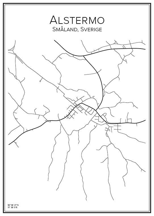 Stadskarta över Alstermo