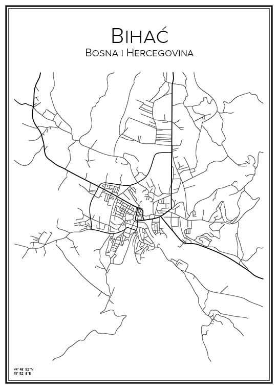 Stadskarta över Bihać