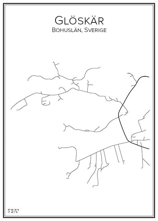 Stadskarta över Glöskär