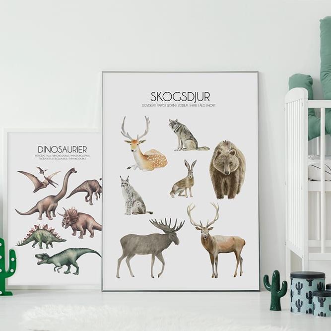 barntavla dinosaurier skogsdjur