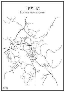 Stadskarta över Teslić